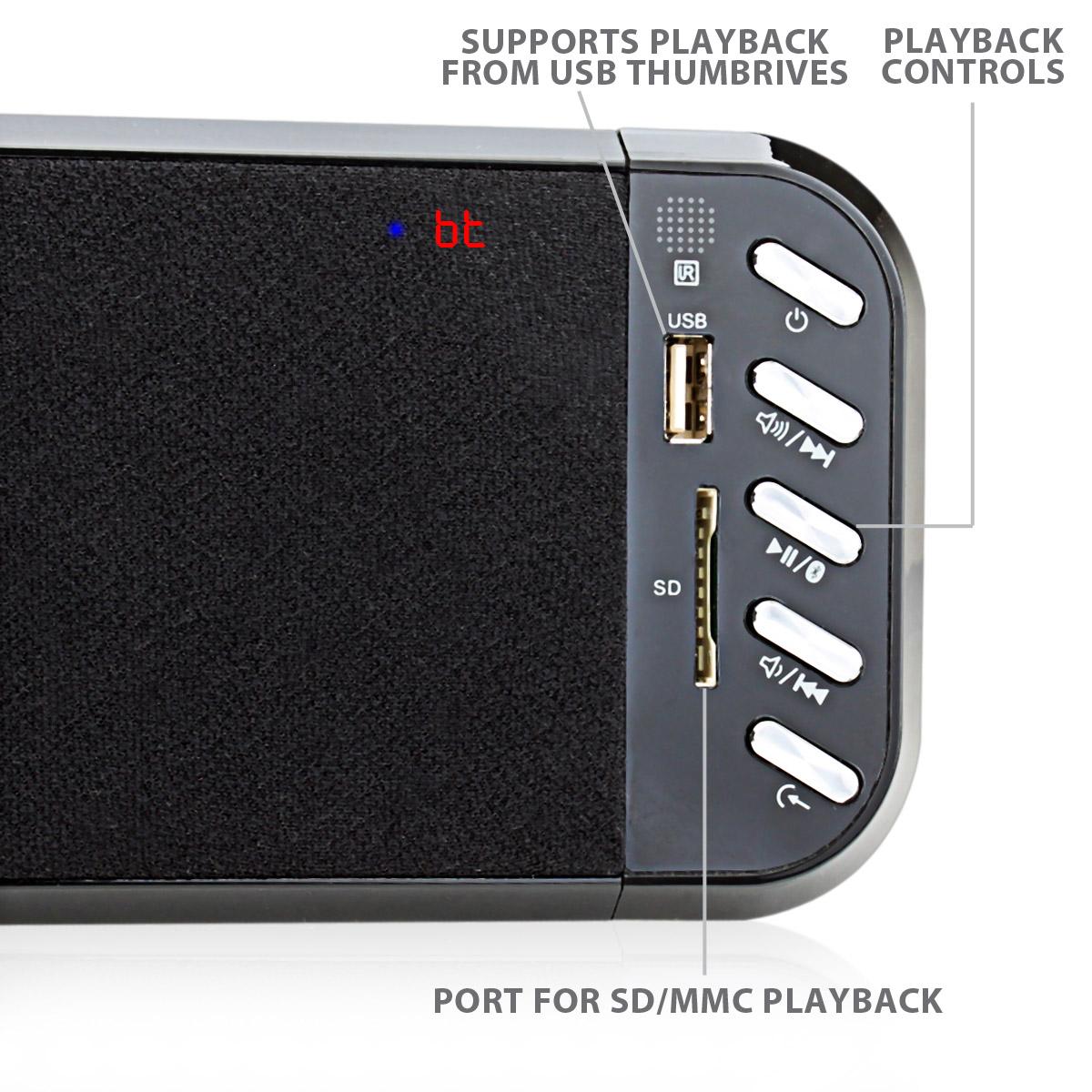 slimline bluetooth wireless tv sound bar hi def speaker. Black Bedroom Furniture Sets. Home Design Ideas