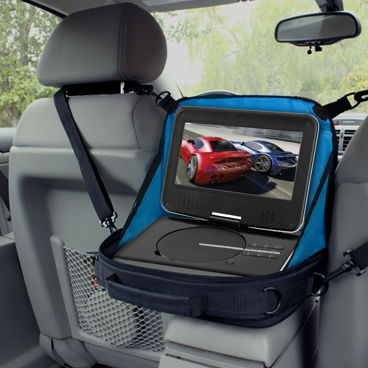 portable dvd player case car headrest mount w pockets scratch free interior 637836579501 ebay. Black Bedroom Furniture Sets. Home Design Ideas