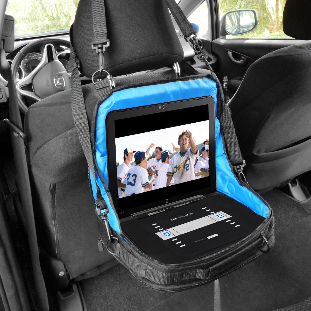 portable dvd player case car headrest mount w pockets. Black Bedroom Furniture Sets. Home Design Ideas