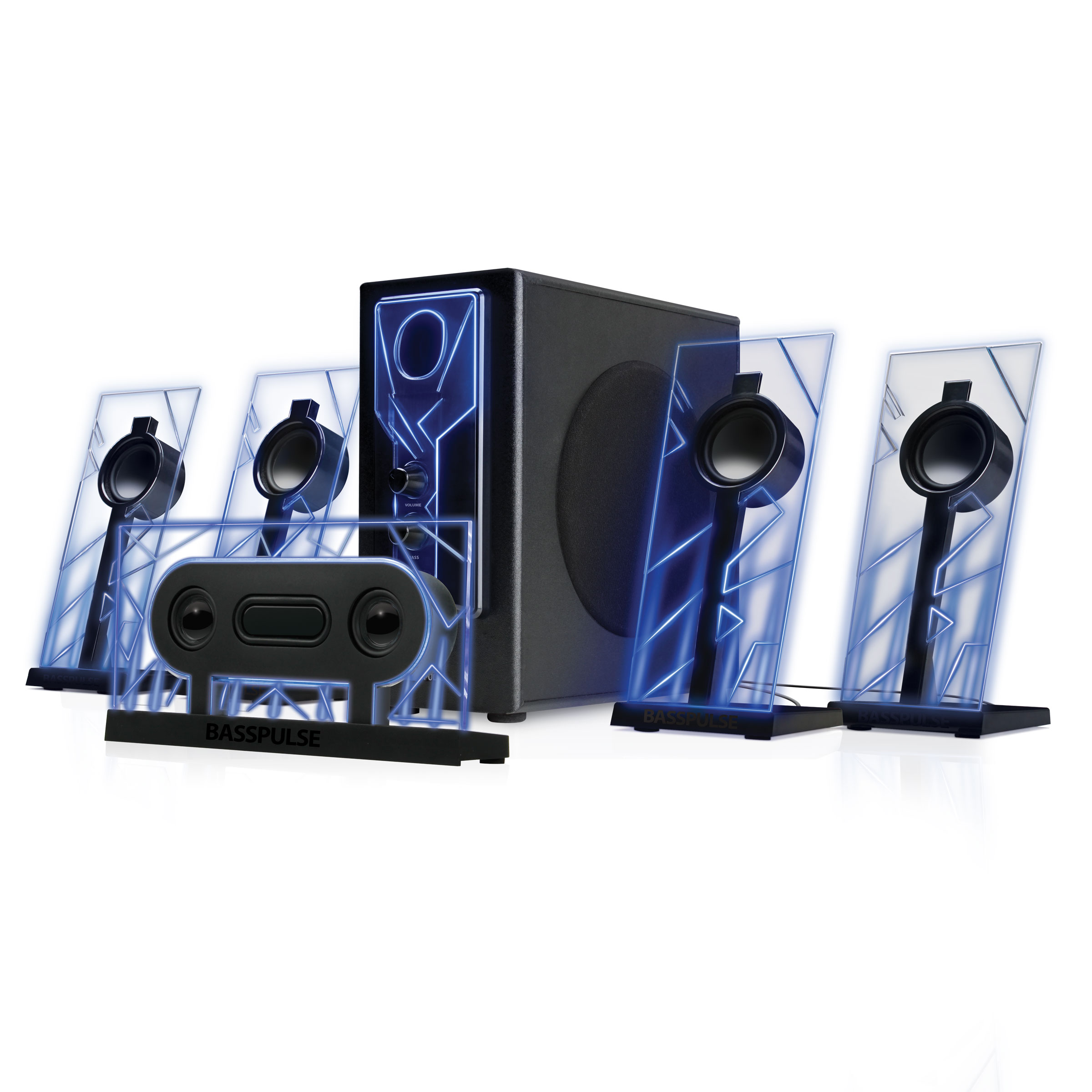 5.1 Surround Sound Computer Speakers with 80 Watts and Blue LED Glow ...