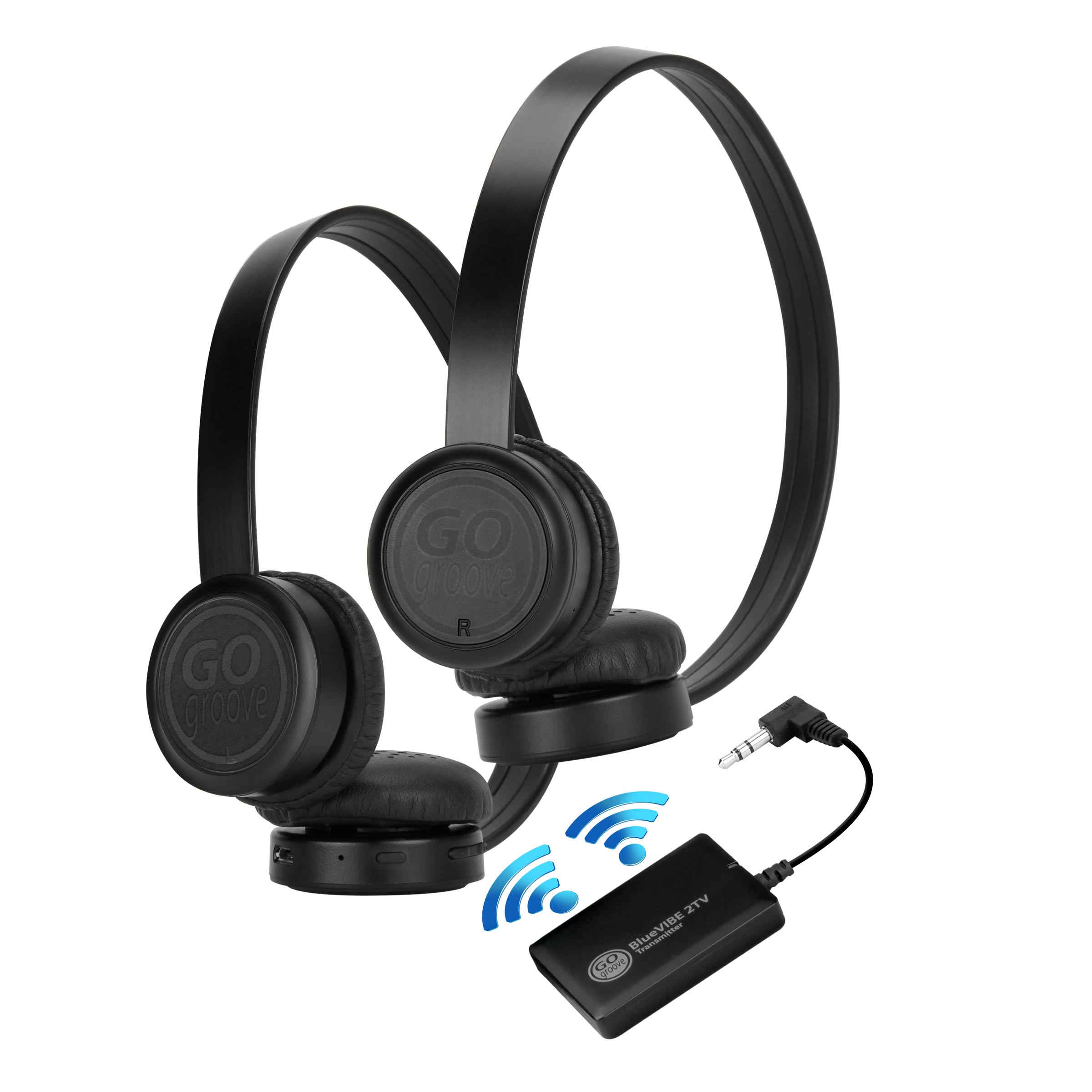 Bluetooth Wireless Headset Walmart: Wireless Dual Headset Bluetooth TV Connection Kit With Leather Ear Cups 637836592173