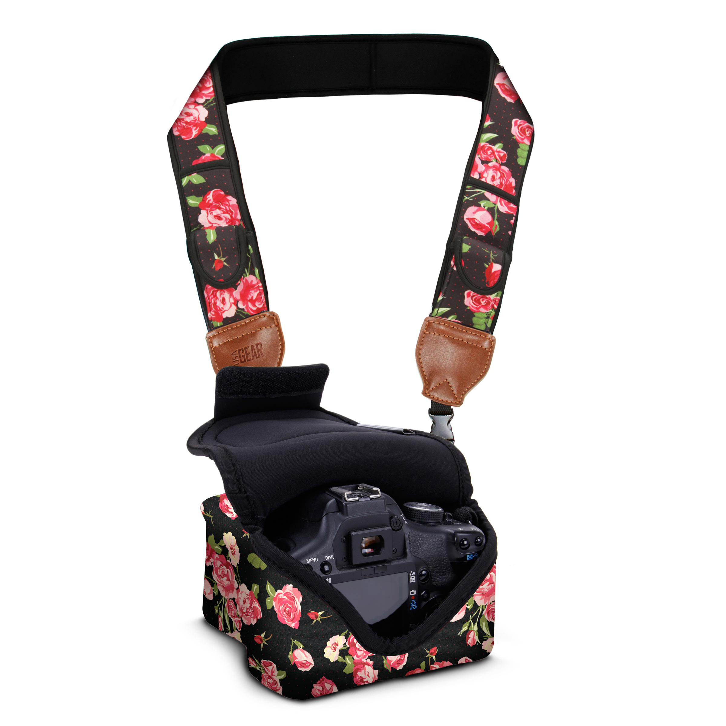 Compatible with Canon Instant Cameras USA Gear Digital Camera Neck Strap with Neoprene Design Fujifilm Black Paisley Accessory Pockets and Quick Release Buckles Sony and More Mirrorless Nikon