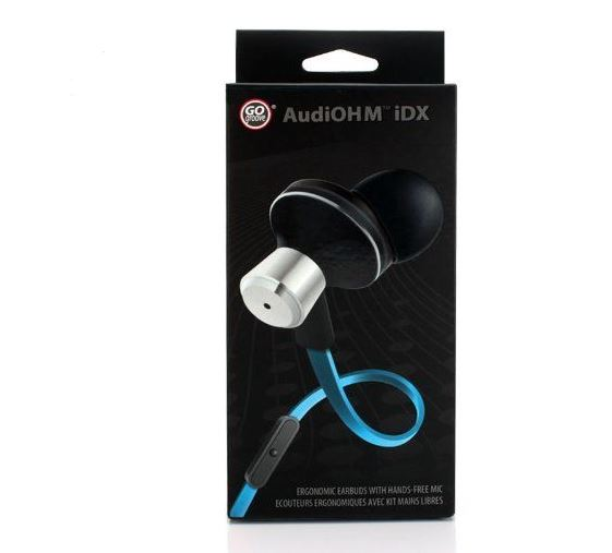 GOgroove AudiOHM iDX Noise Isolating In-Ear Headphones with Hands-Free Microphone , Call / Music Control & Custom Fit Silicone Ear Gels - Electric Blue